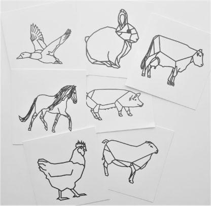 Set kaarten boerderijdieren