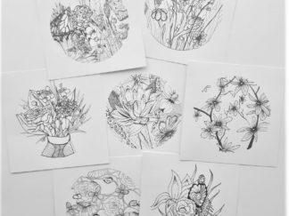 Set kaarten bloemen